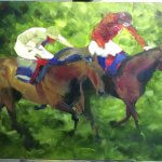 work in progress acrylic painting two to go of two horses racing