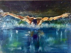an acrylic painter of a male swimming towards viewer doing butterfly stroke blues and green in water with silver and white splashes